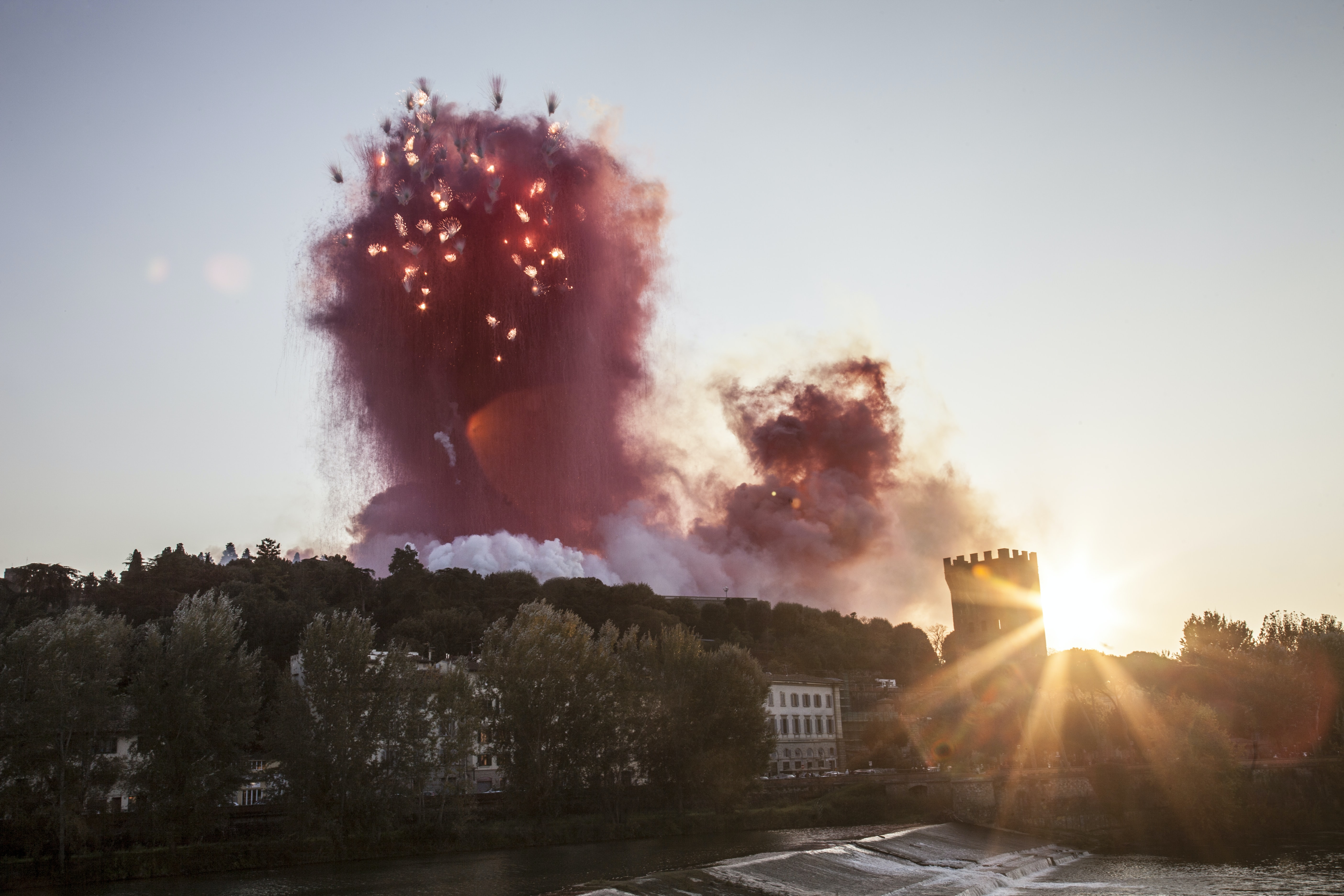 red explosion during daytime