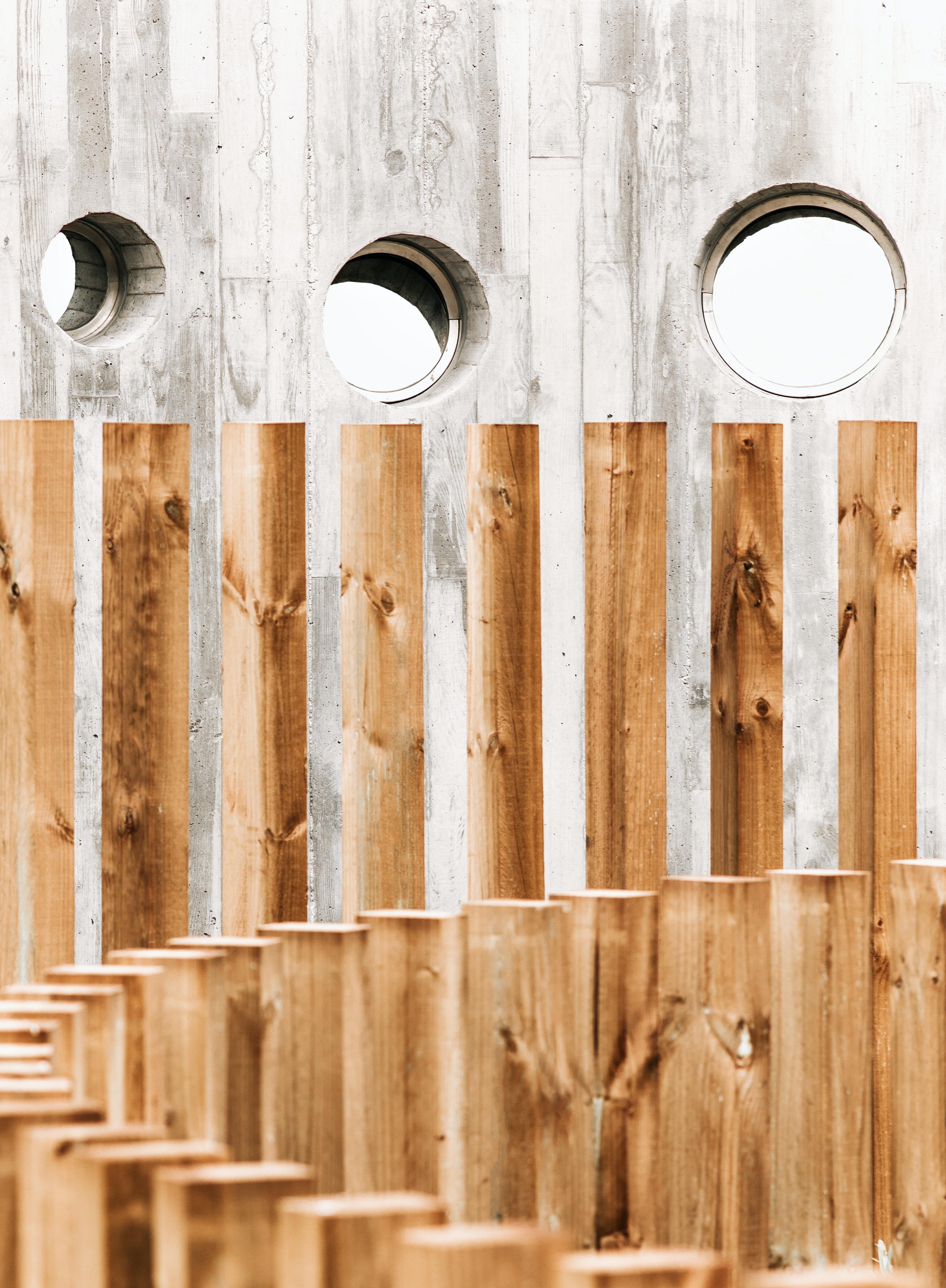 brown wooden posts