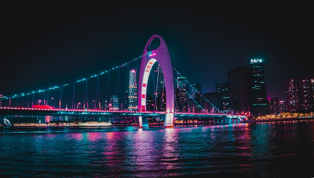 bridge with LED lights during night