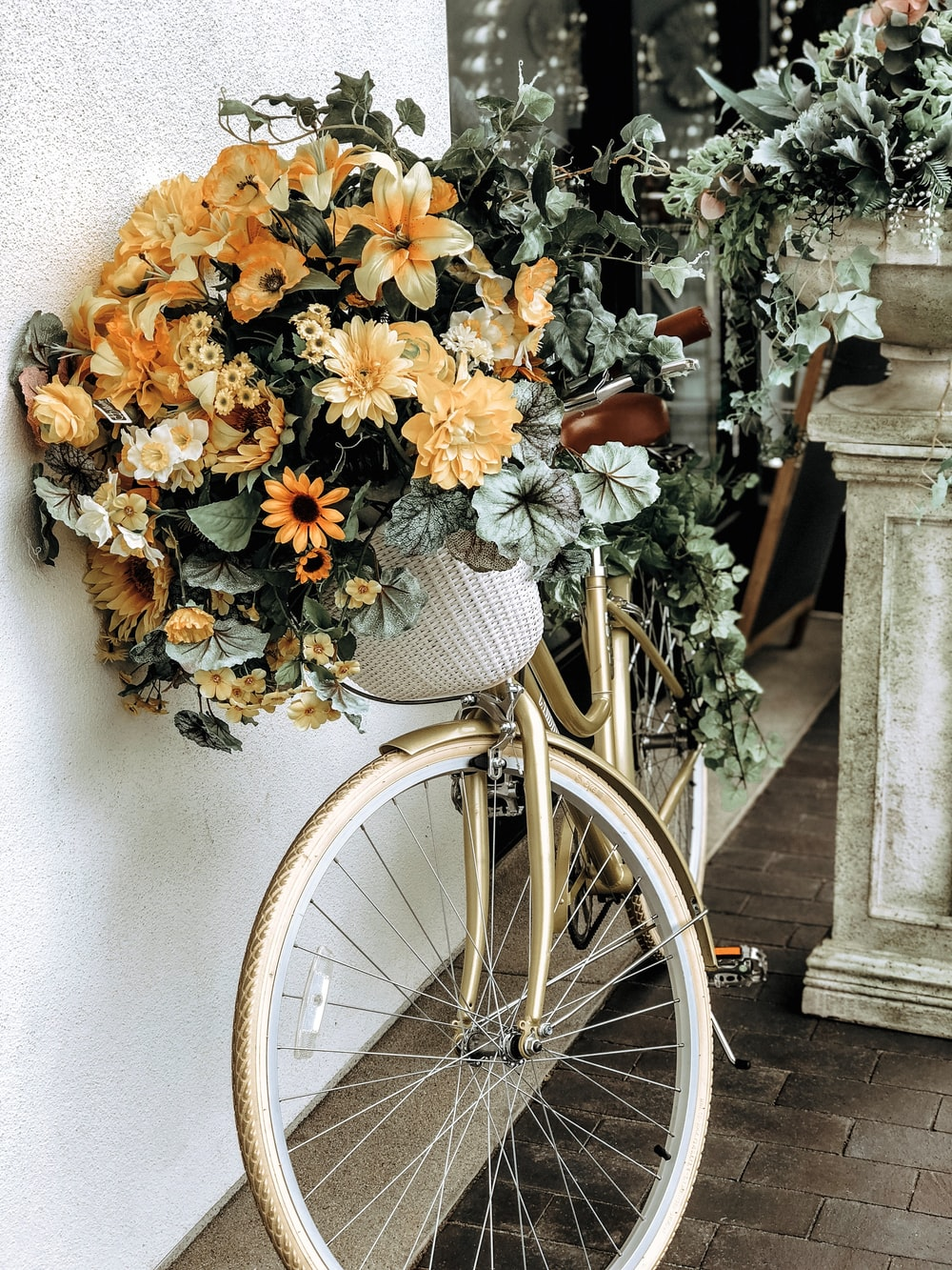 flowers on bicycle's basket