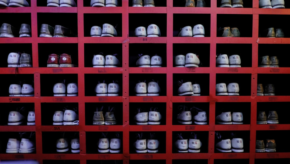 assorted-color sneakers