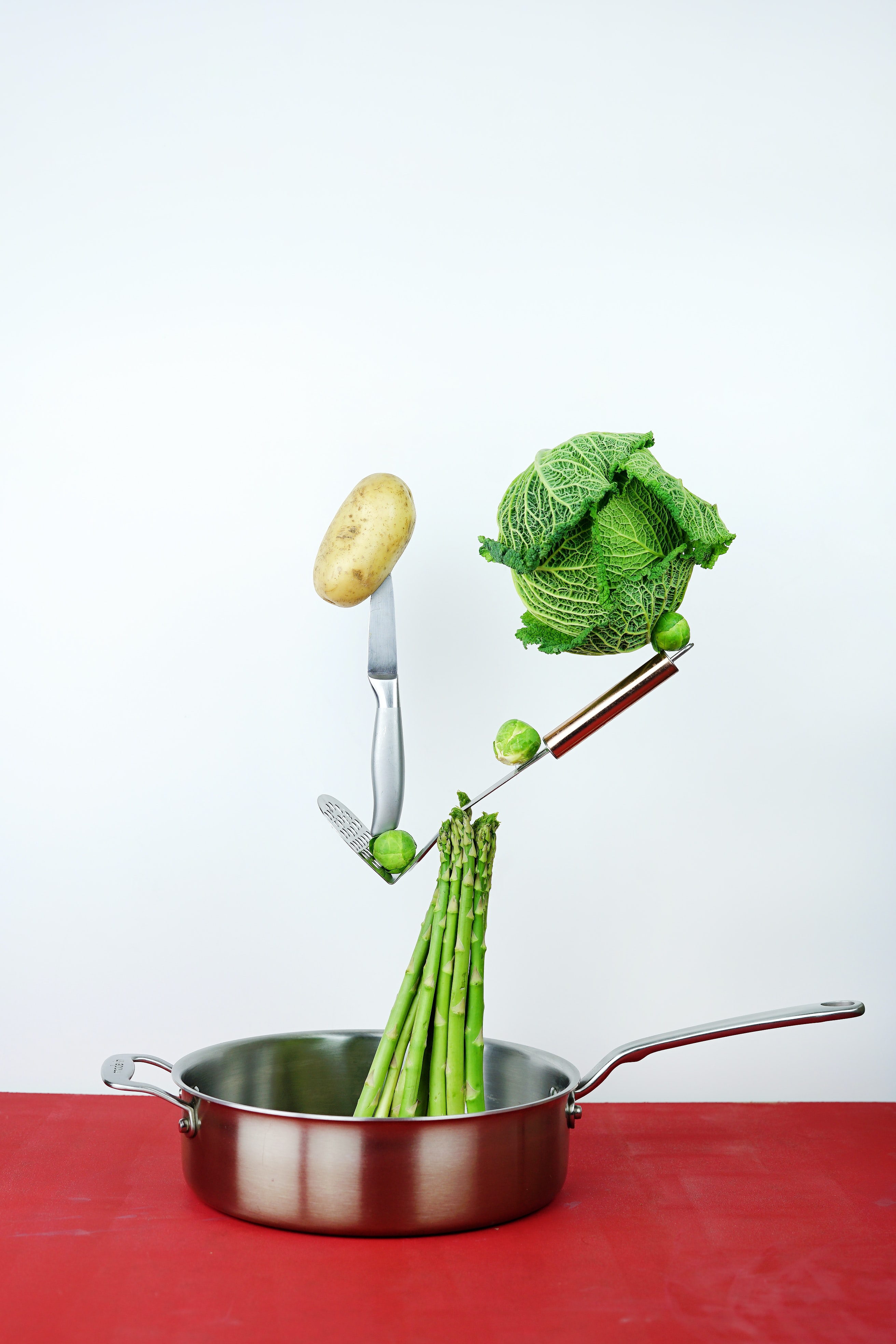 green cabbage and brown potato