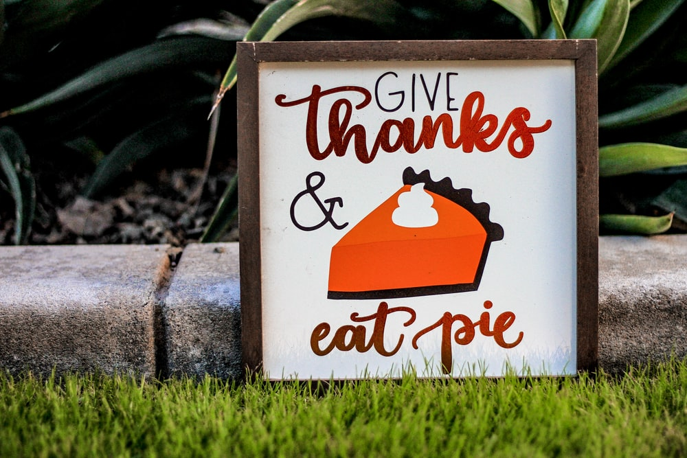 Give Thanks and Eat Pie poster with brown frame on green grass field