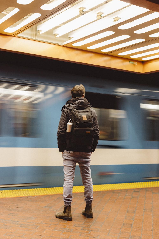 man on a train station