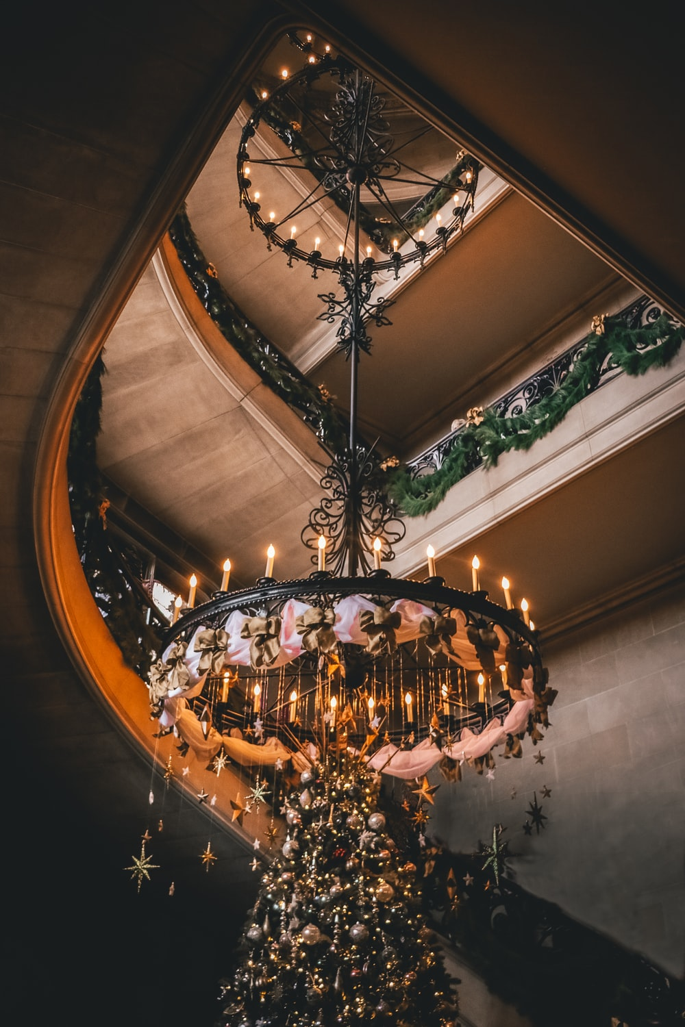 black and brown chandelier