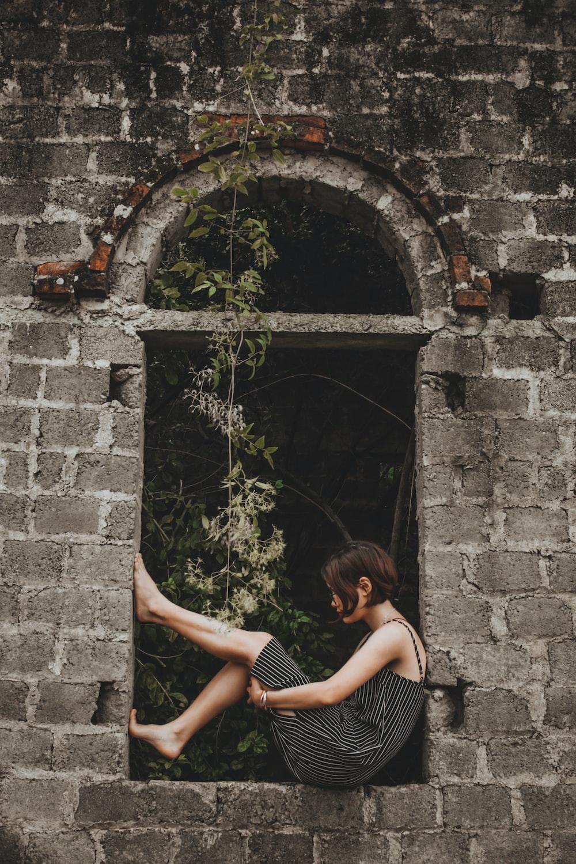 woman on a window