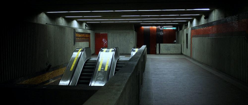 empty subway escalator