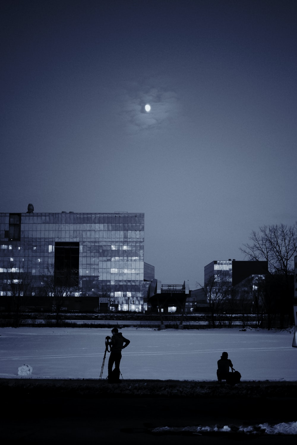 peope near snow field during nighttime