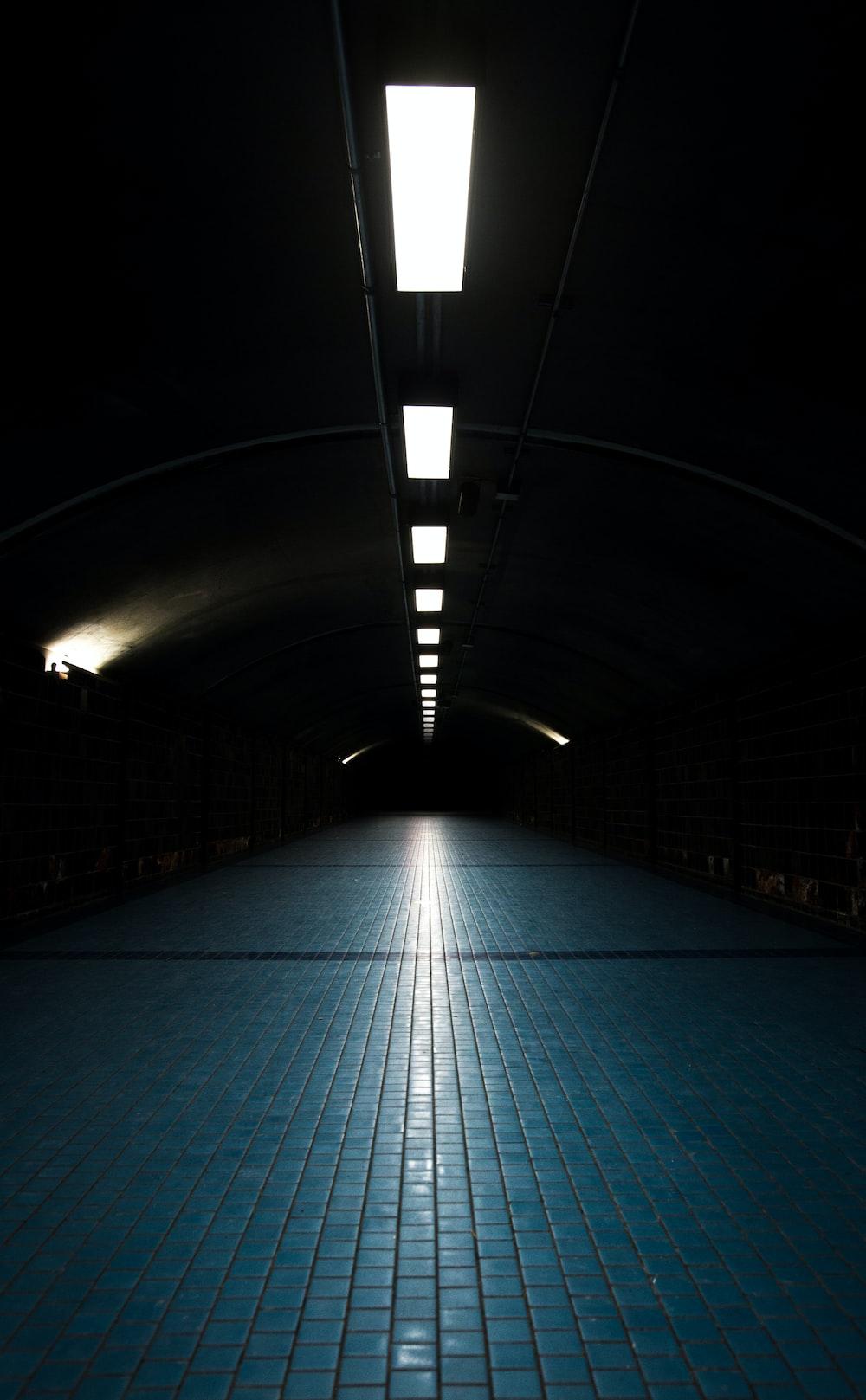 blue brick floor
