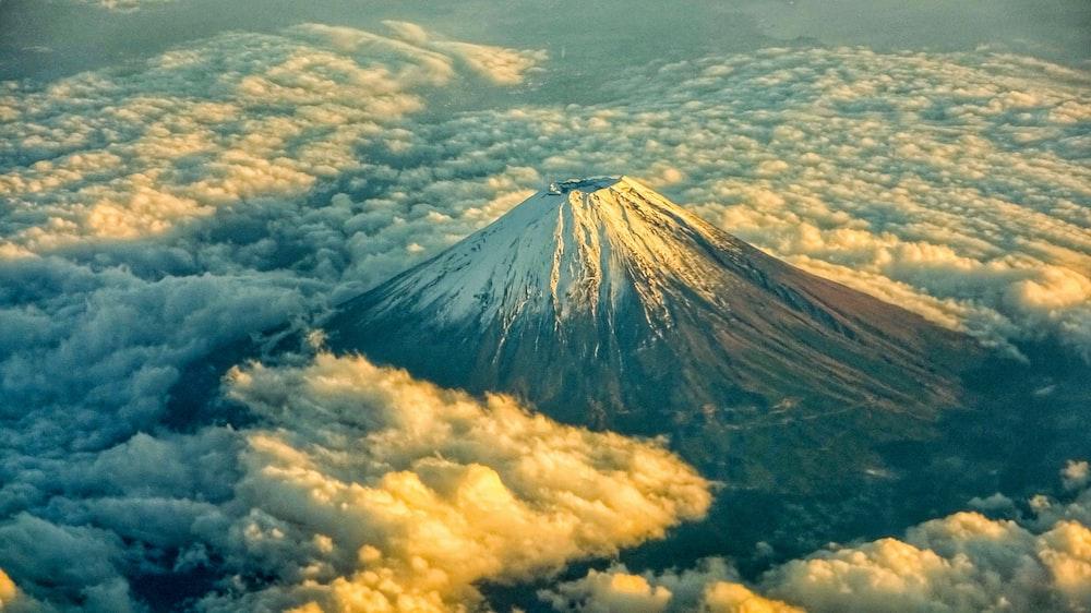 top view of volcano