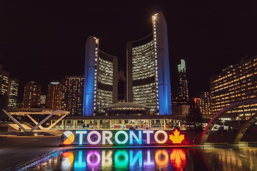 Toronto building with lights