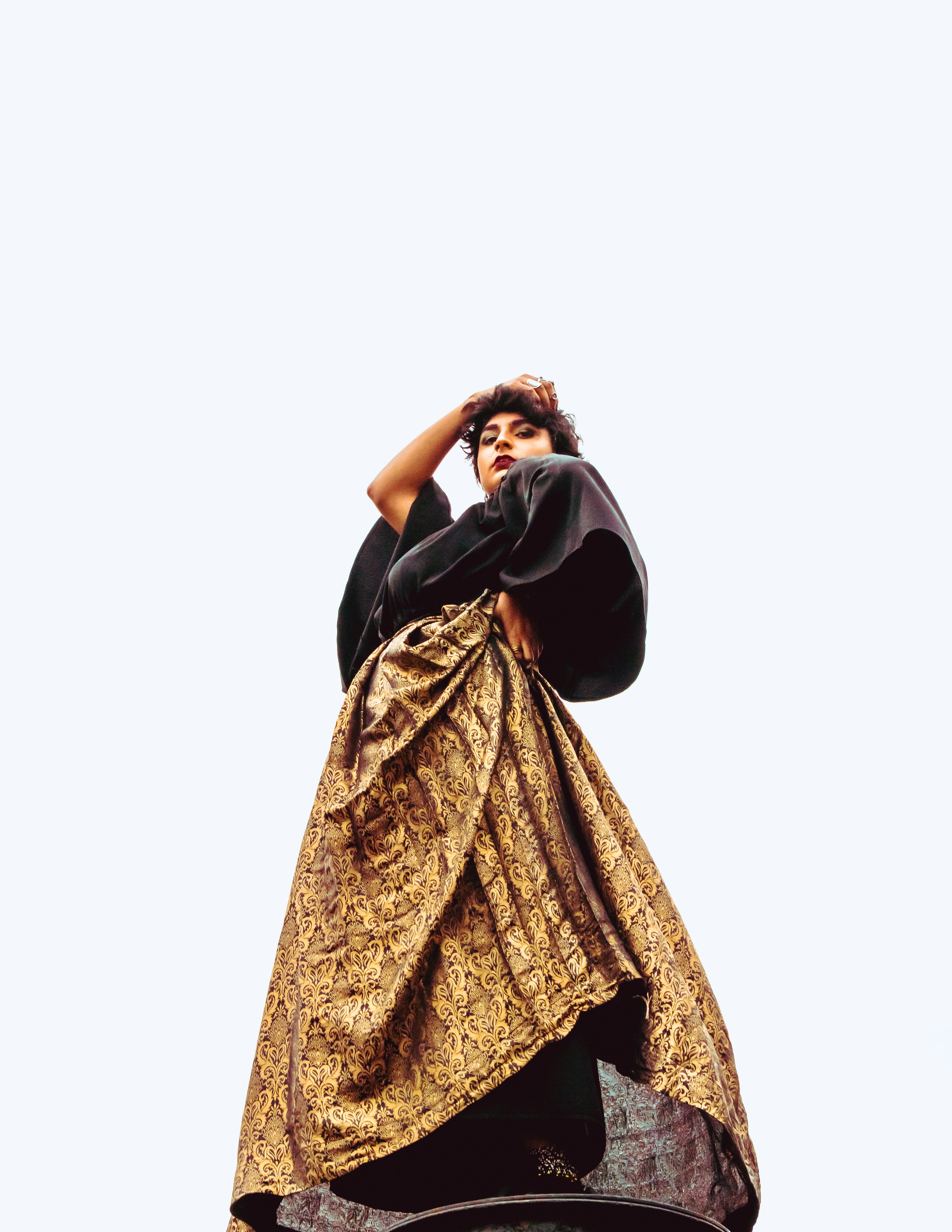low-angle photography of woman standing wearing brown and black maxi dress