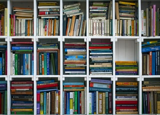 assorted books on wooden shelf