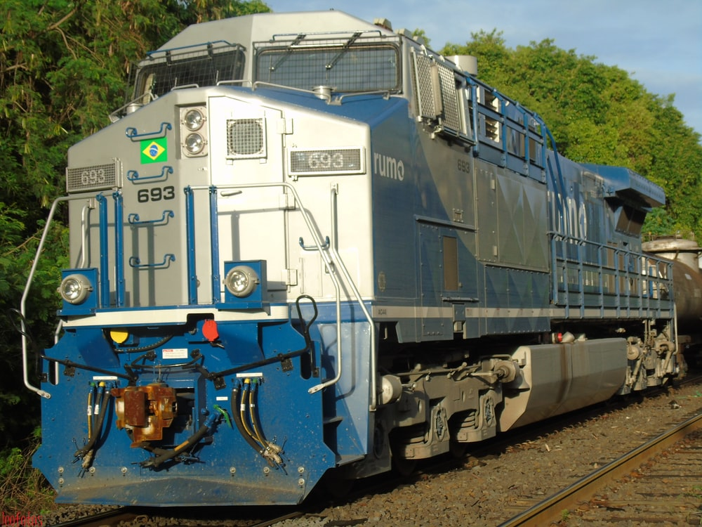 blue and white train