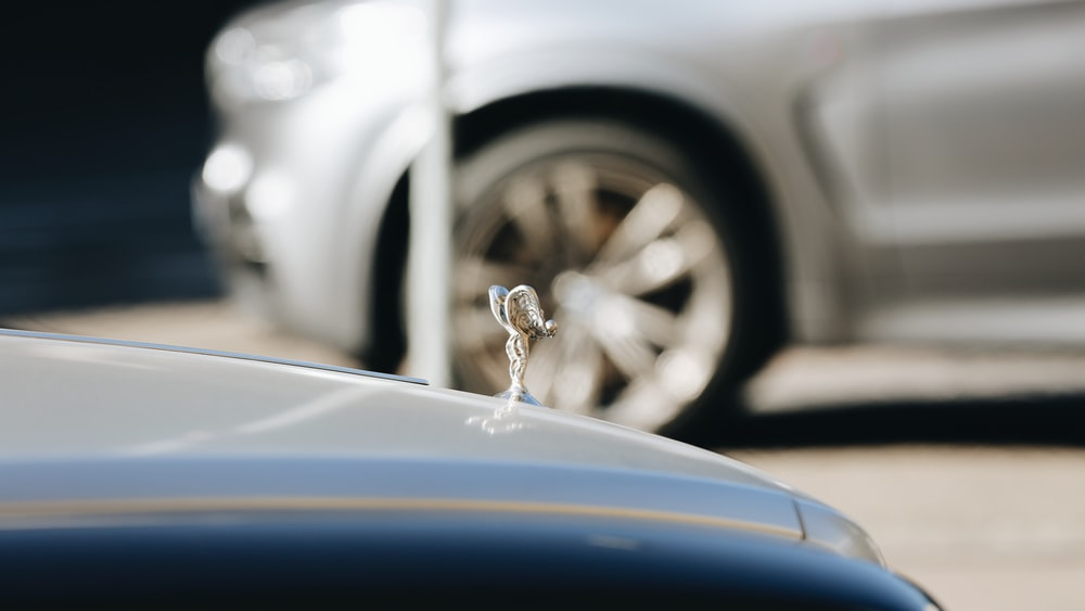 selective focus photography of silver-colored vehicle hood accessory