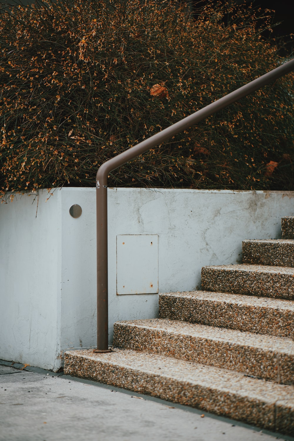 brown concrete stair