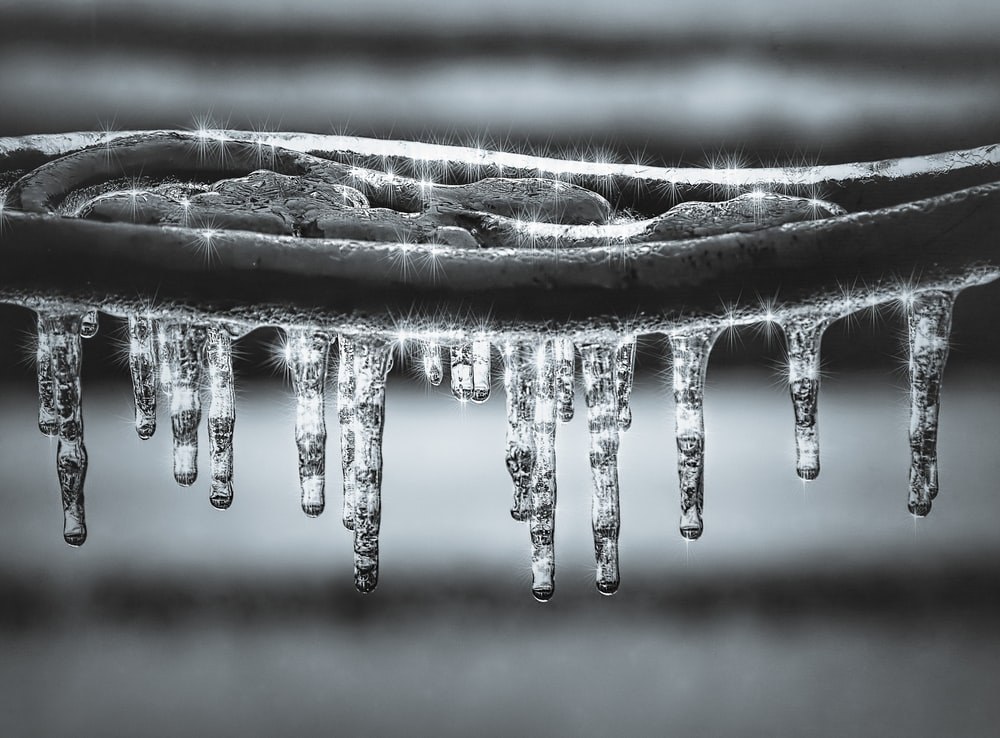 grayscale photography of water drops ice