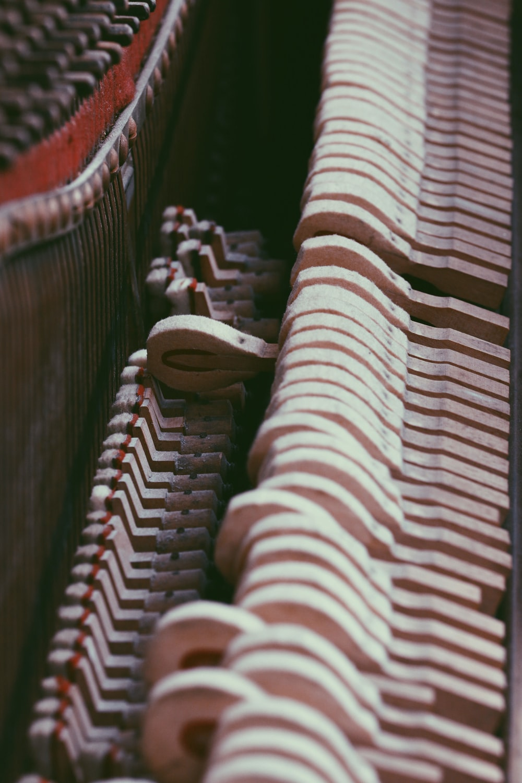 brown piano interior keys