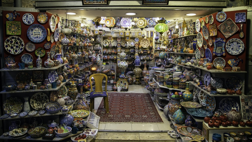 display of home decors