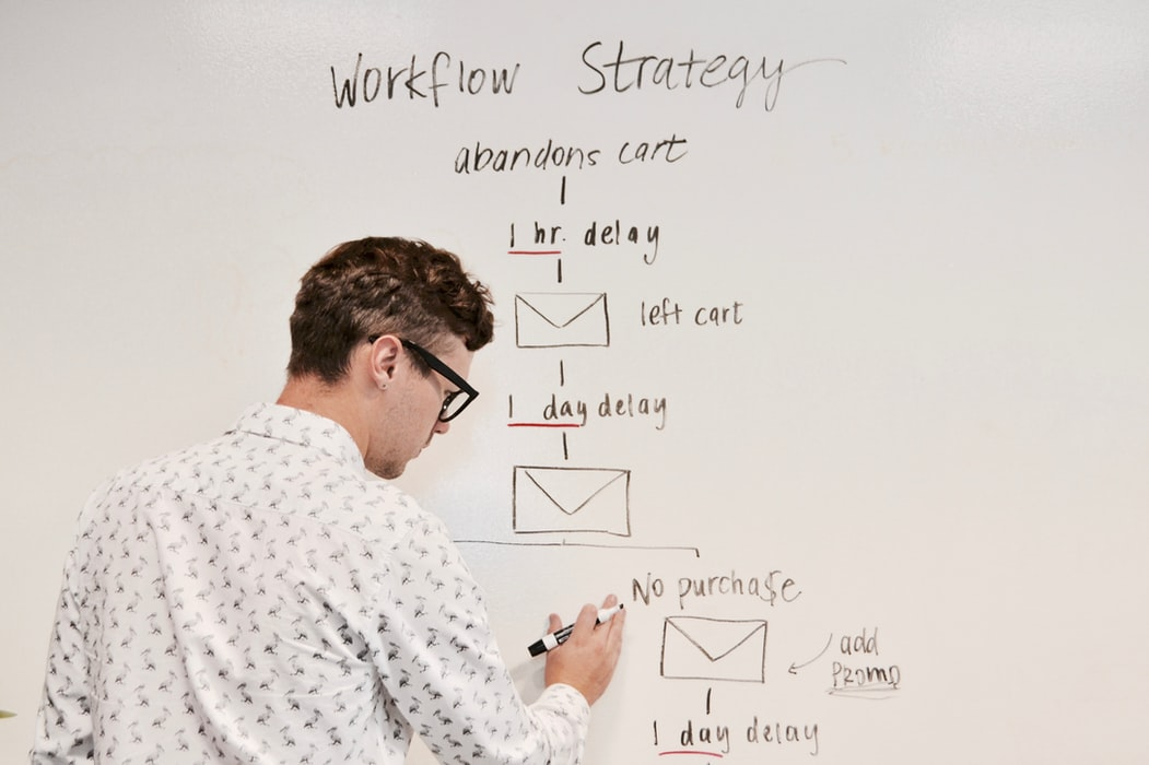 A man developing a workflow strategy of email campaign as part of a conference marketing plan template