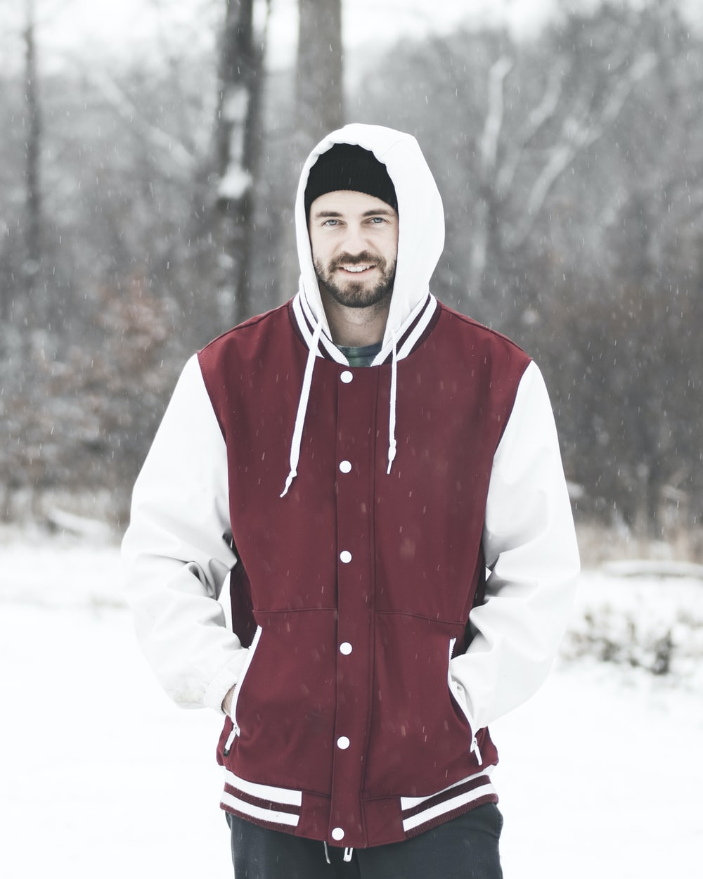 man wearing red and white jacket