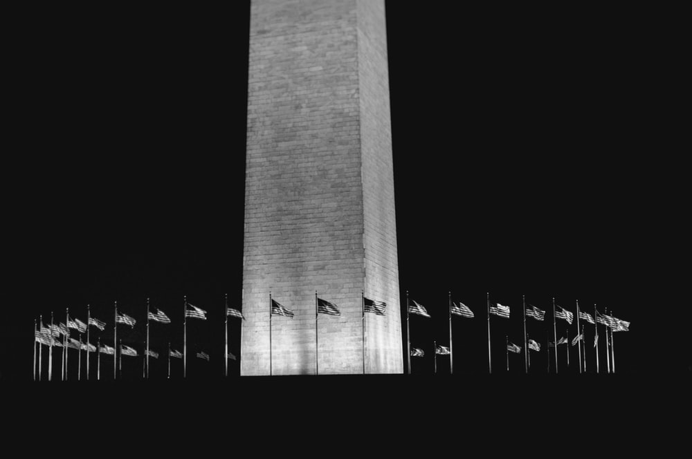 grayscale photography of monument