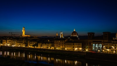 aerial view of city during night time florence teams background