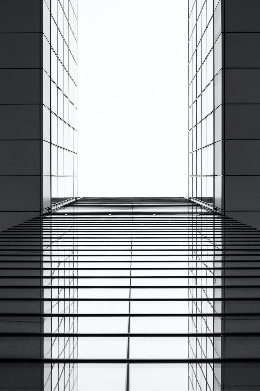 gray and black building mirror