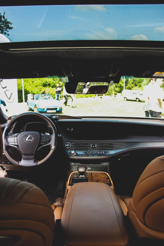 brown Lexus vehicle interior