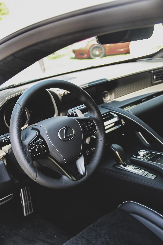 black Lexus steering wheel