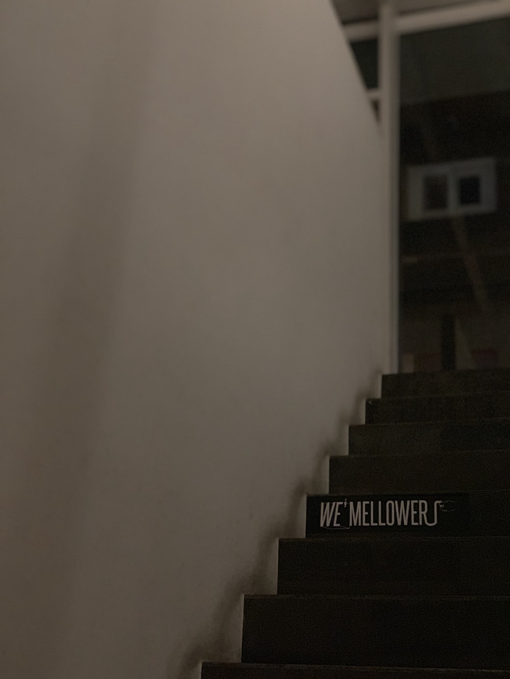 we mellowers print on stairs inside room