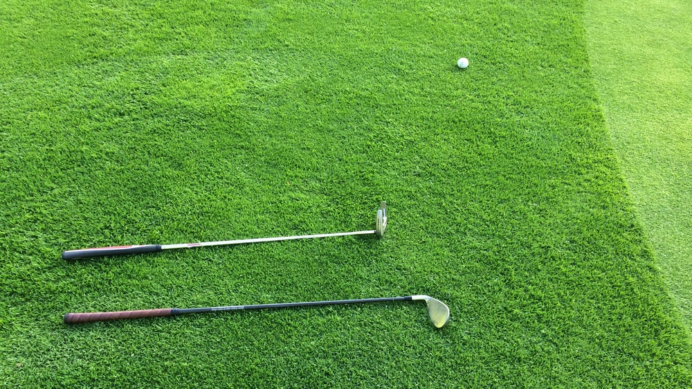 two golf clubs on green grass field