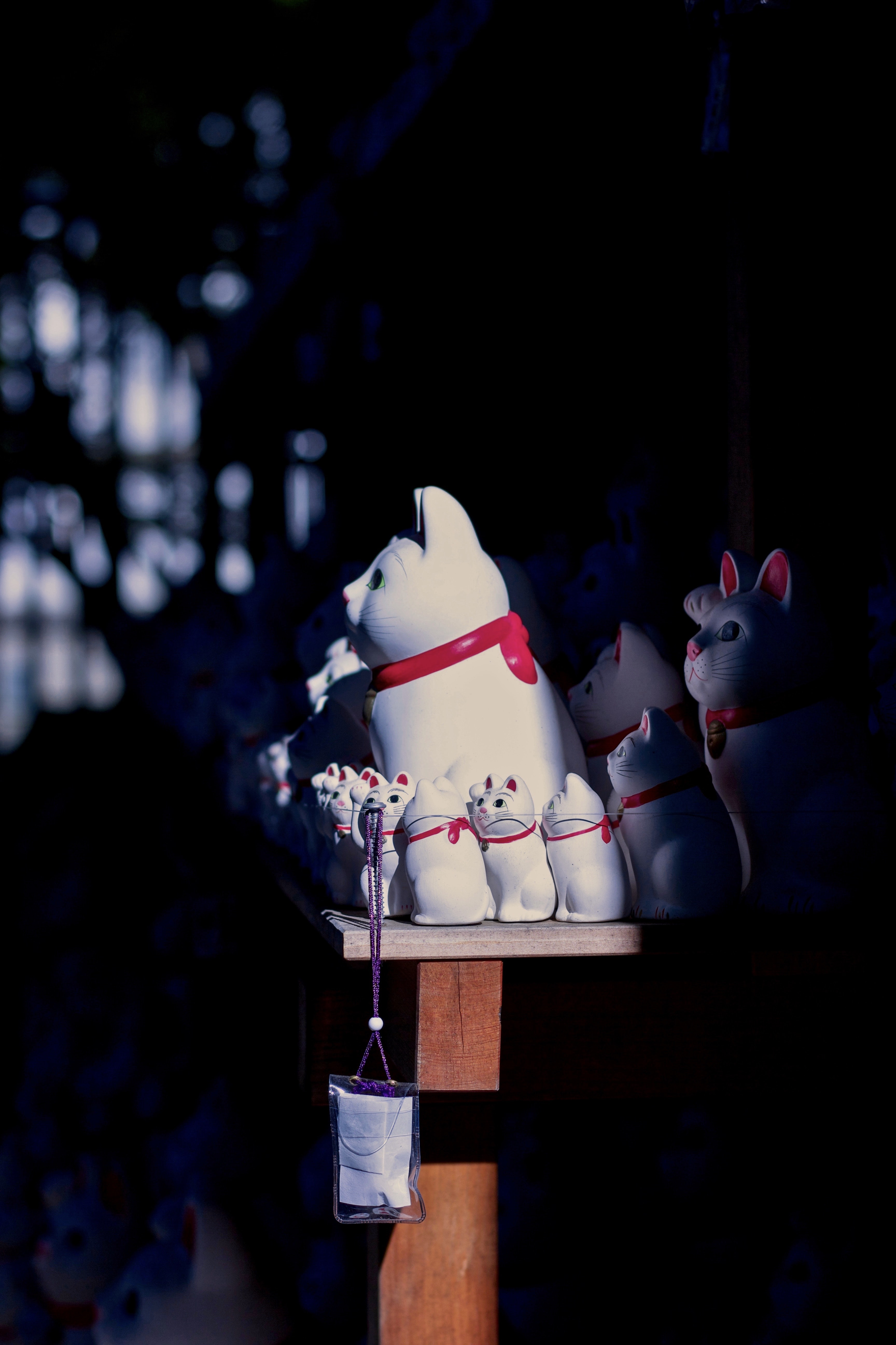 shallow focus photo of ceramic lucky cat figurines