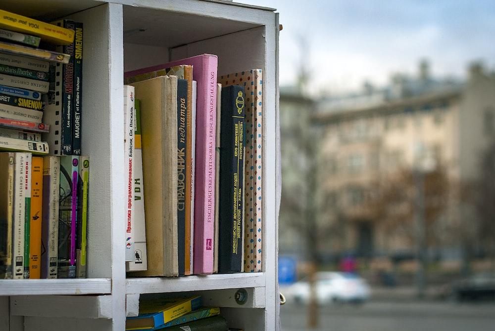 books in cubby shelf