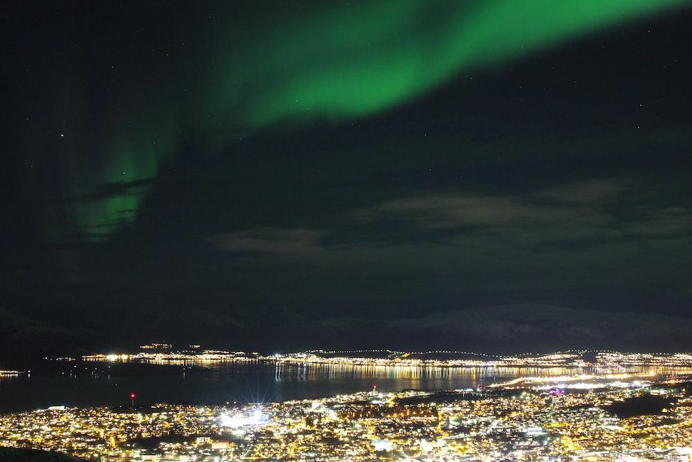 city under Northern lights