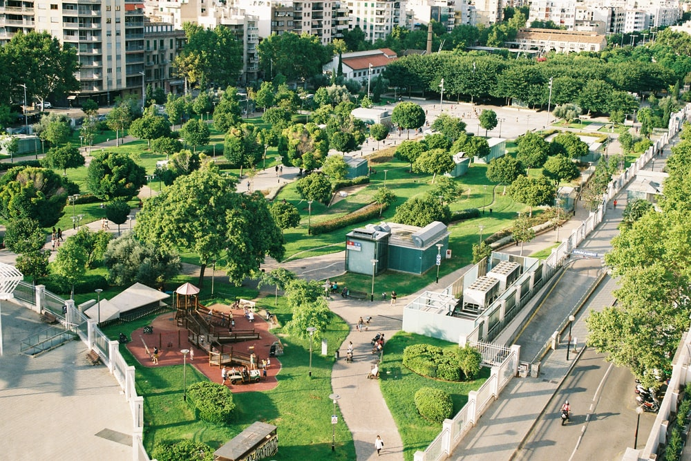 aerial photography plaza with trees and buildings