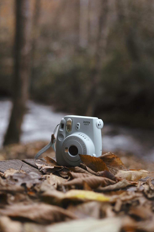 teal Fujifilm Instax mini camera on brown leaves