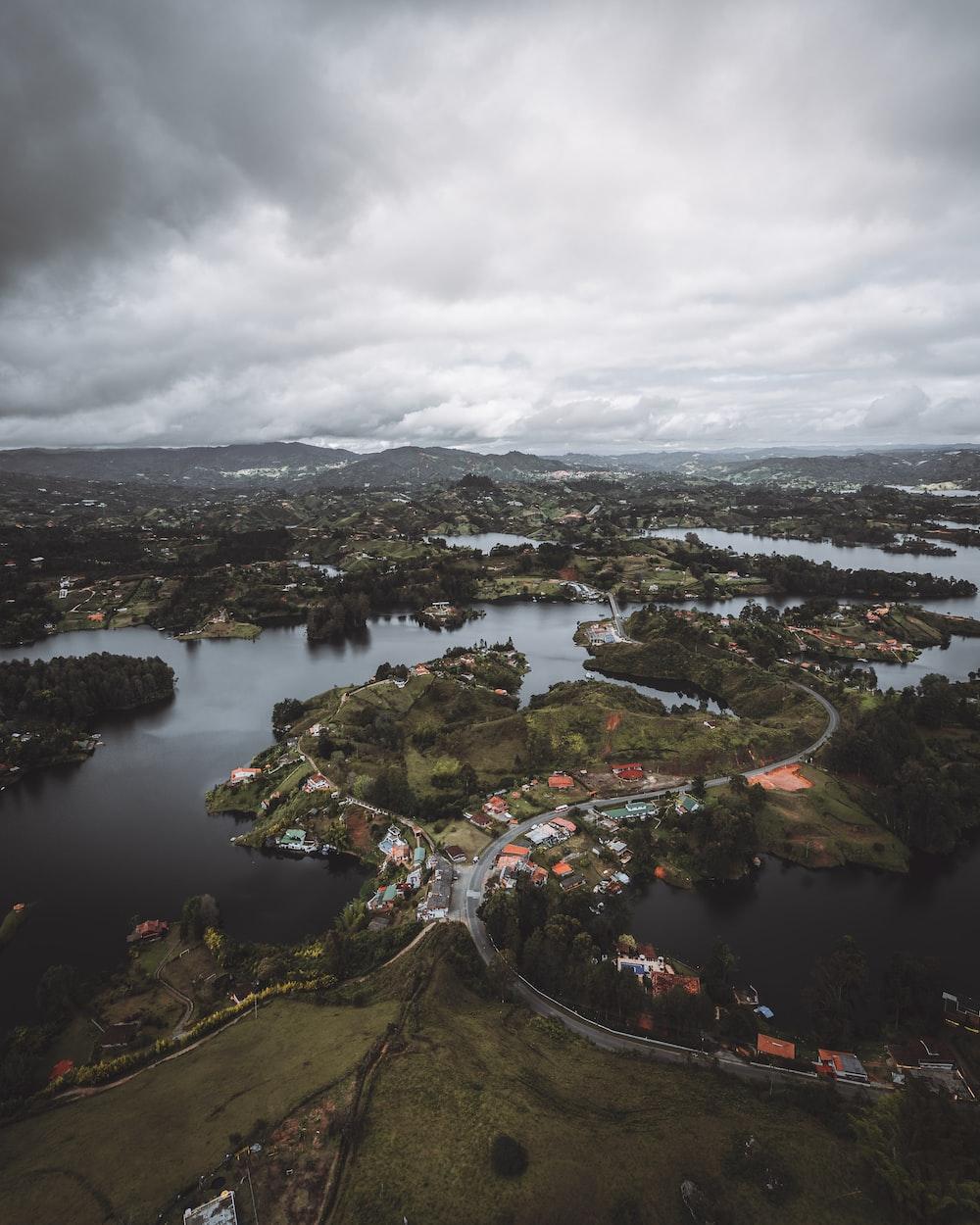 bird's eye view photo of river village