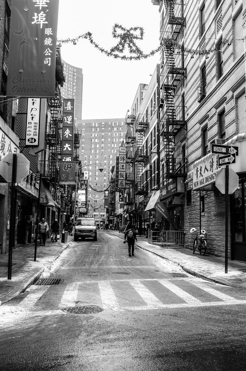 grayscale photography of street