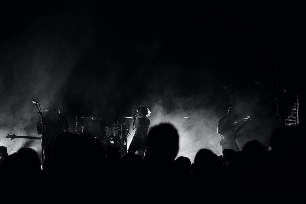 grayscale photo of band