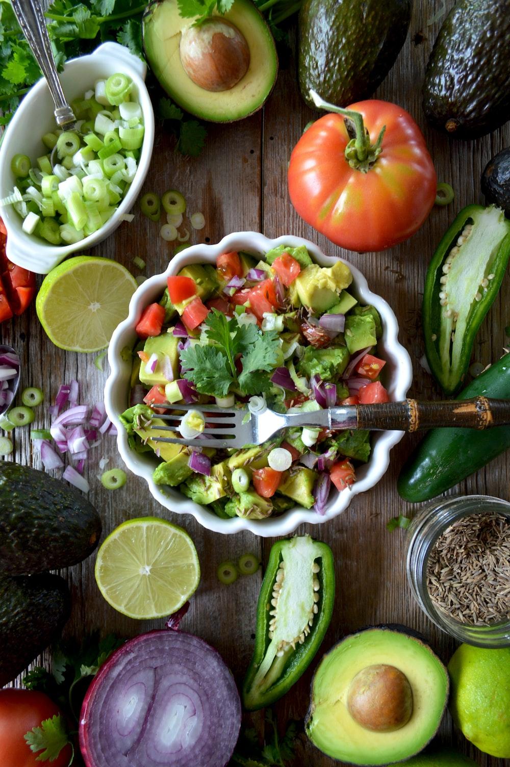 vegetable salad on bowl flat lay photography