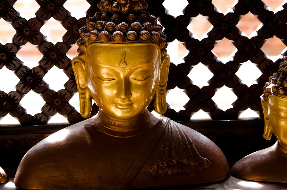 Buddha figurines near wooden wall