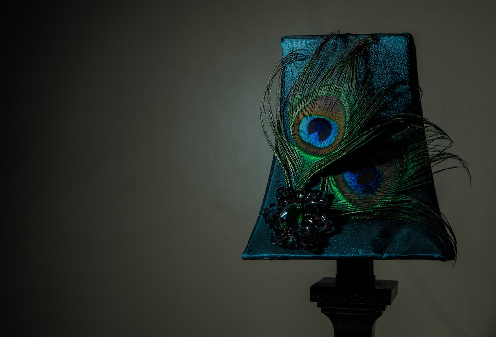 peacock feathers on a lampshade