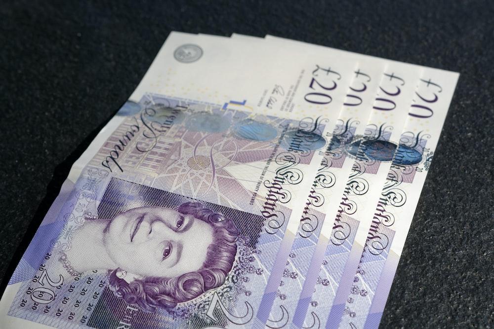 four 20 Euro banknotes