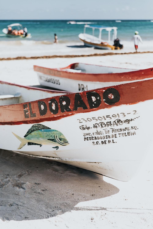 white and maroon El Dorado boat on seashore