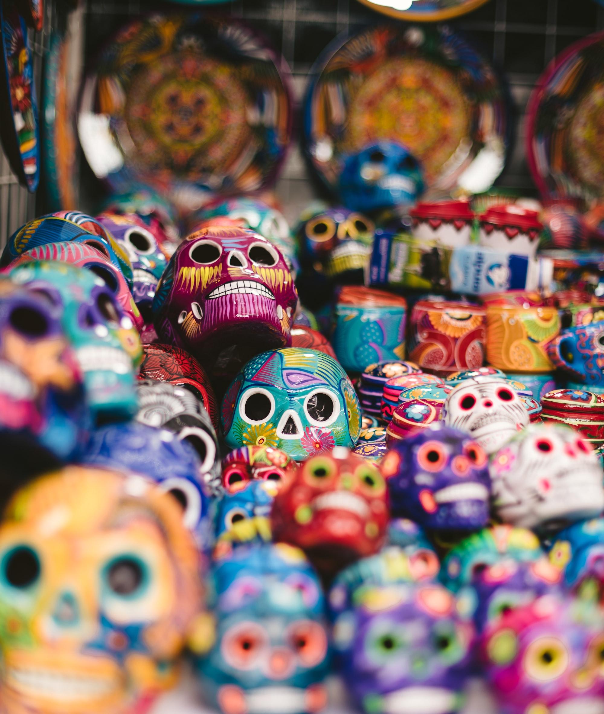 Colorful skulls for sale in Mexico City during Día de los Muertos.