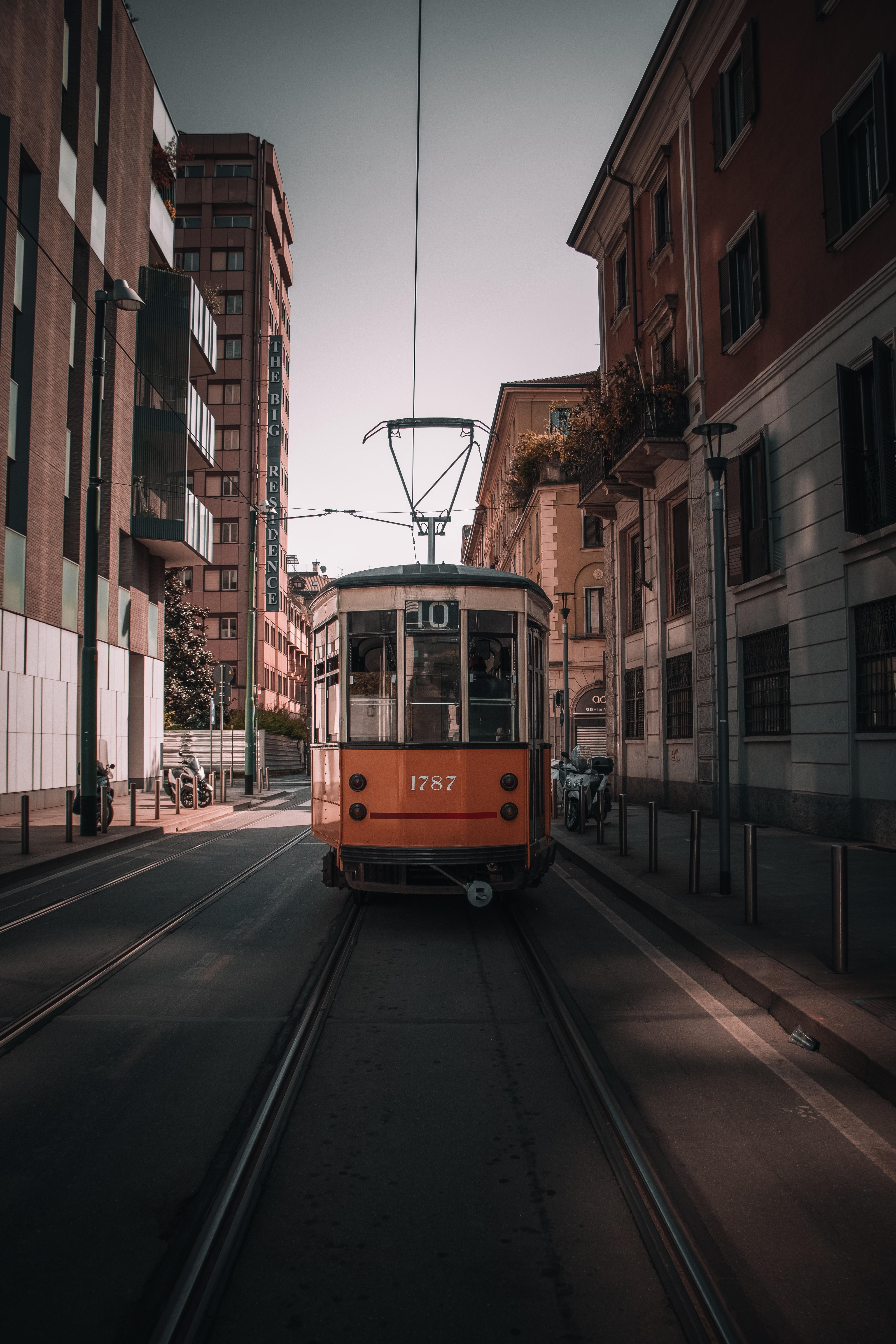 orange and gray train