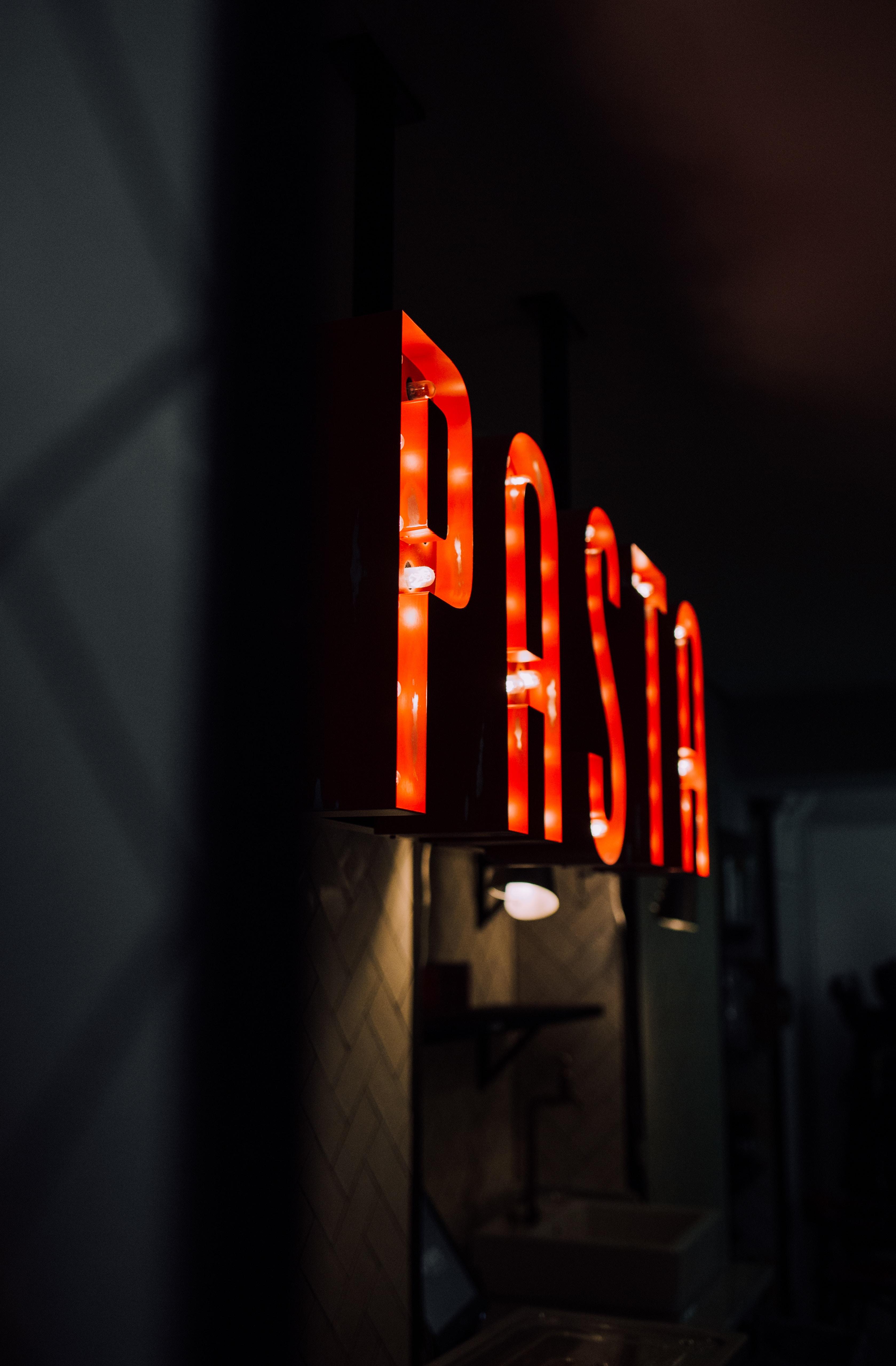 red Pasta light signage