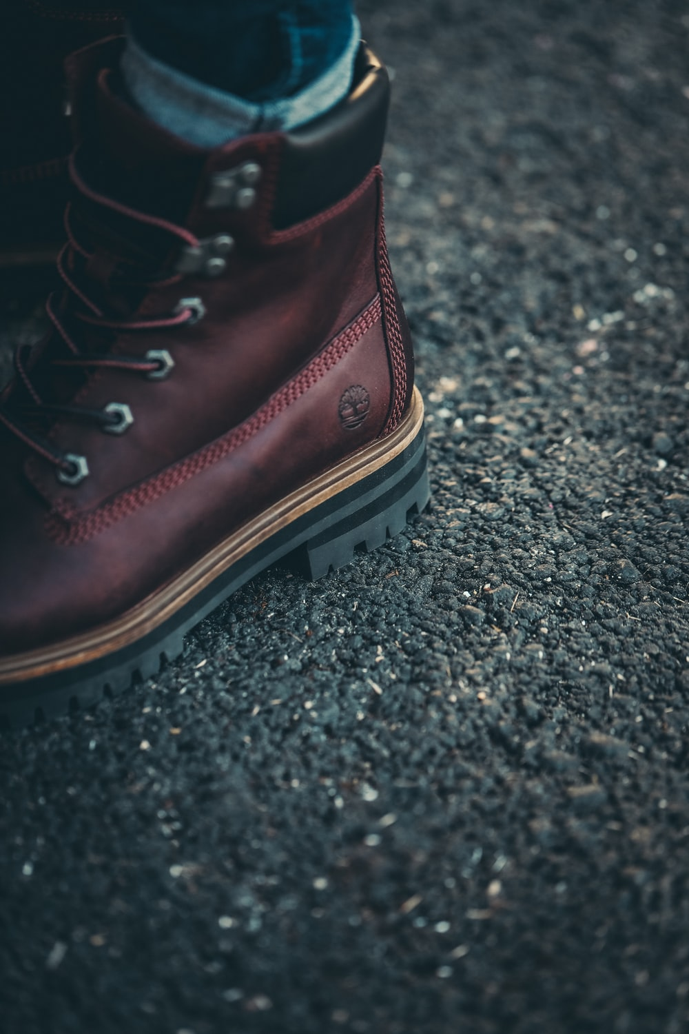 unpaired brown Timberland boot