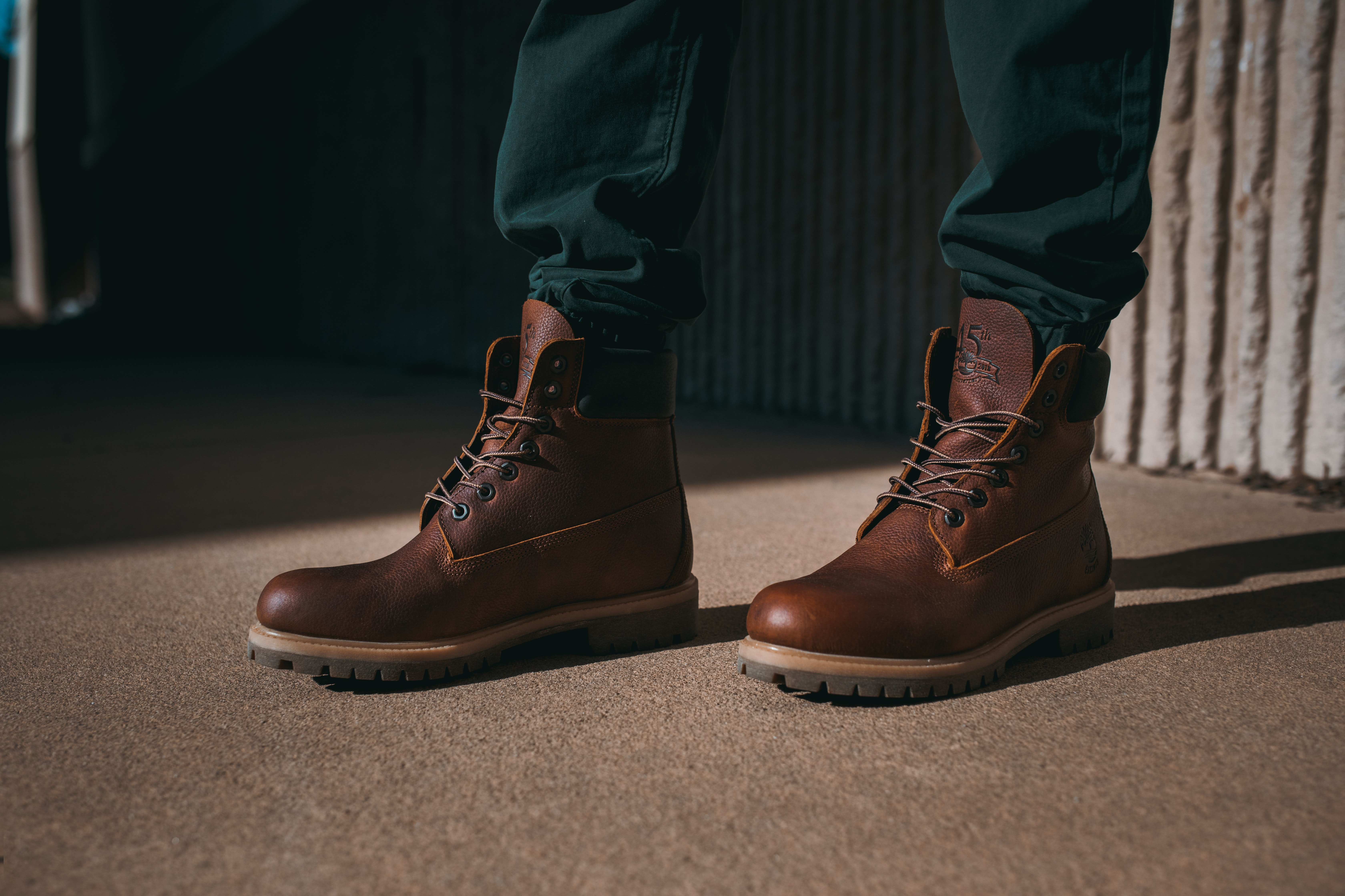 A pair of brown Timberland boots